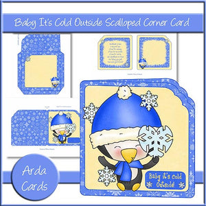 Baby It's Cold Outside Scalloped Corner Card - The Printable Craft Shop