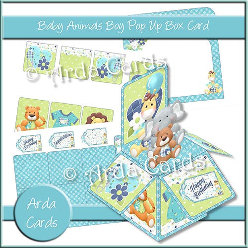 Baby Animals Boy Pop Up Box Card