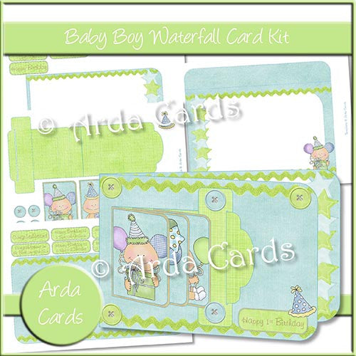 Baby Boy Waterfall Card Kit - The Printable Craft Shop