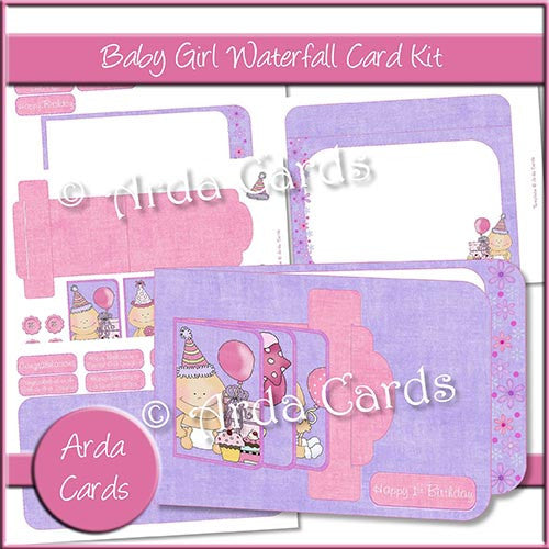 Baby Girl Waterfall Card Kit - The Printable Craft Shop