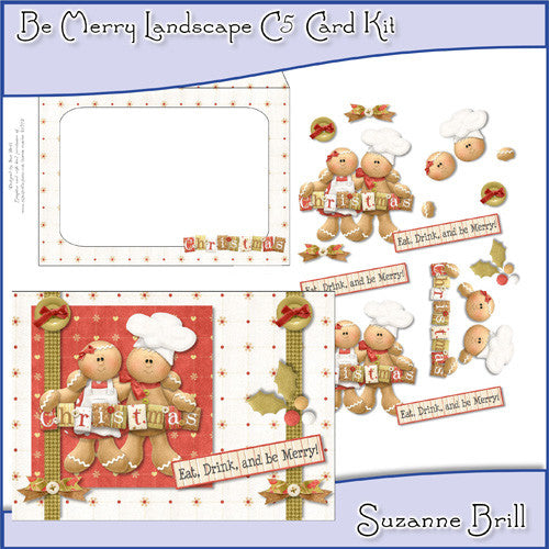 Be Merry Landscape C5 Card Kit - The Printable Craft Shop