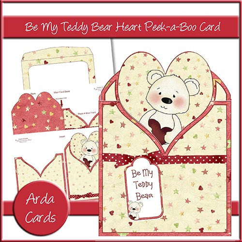 Be My Teddy Bear Heart Peek-a-Boo Card - The Printable Craft Shop
