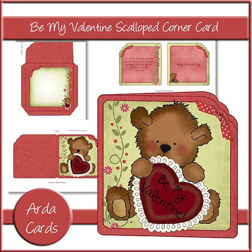 Be My Valentine Scalloped Corner Card - The Printable Craft Shop