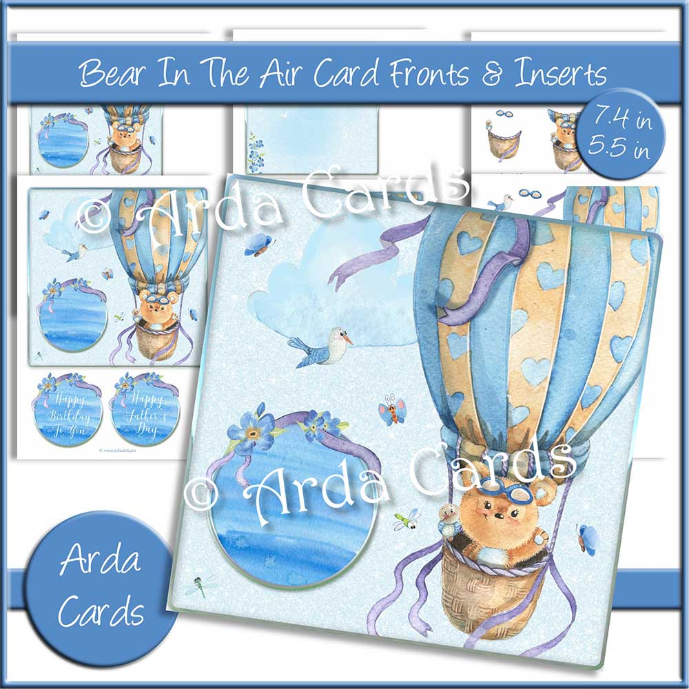 Bear In The Air 7.4in & 5.5in Card Fronts & Inserts