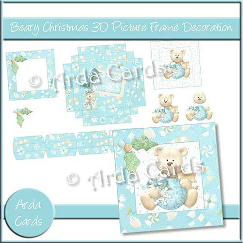 Beary Christmas 3D Picture Frame Decoration - The Printable Craft Shop