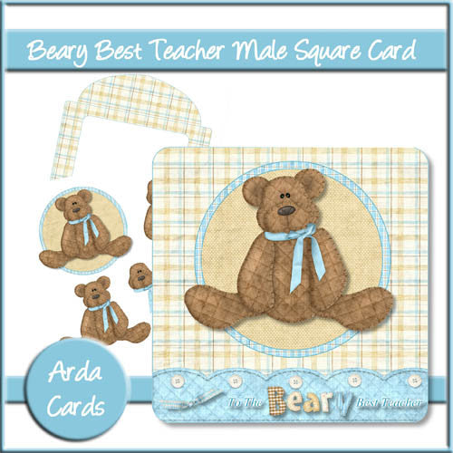 Beary Best Teacher Male Square Card - The Printable Craft Shop