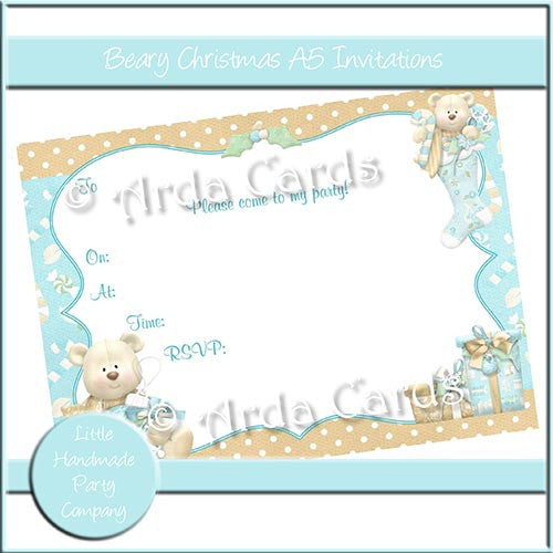 Beary Christmas A5 Invitations - The Printable Craft Shop