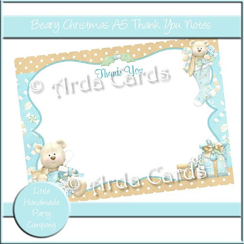 Beary Christmas A5 Thank You Notes - The Printable Craft Shop