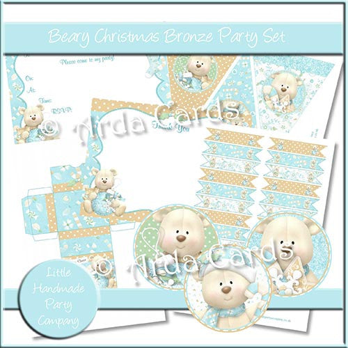 Beary Christmas Bronze Party Set - The Printable Craft Shop