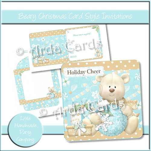 Beary Christmas Card Style Invitations - The Printable Craft Shop