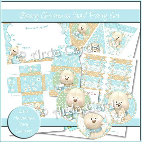 Beary Christmas Gold Party Set - The Printable Craft Shop