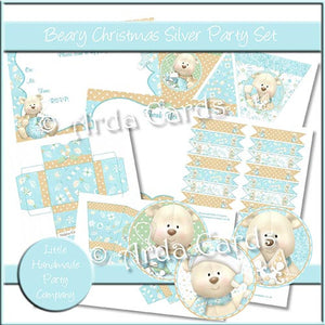 Beary Christmas Silver Party Set - The Printable Craft Shop