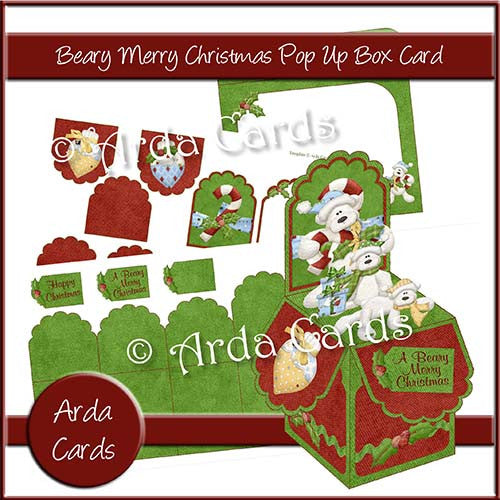 Beary Merry Christmas Pop Up Box Card - The Printable Craft Shop