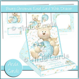 Beary Christmas Easel Card With Drawer - The Printable Craft Shop