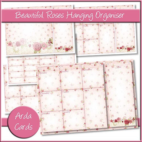 Beautiful Roses Hanging Organiser - The Printable Craft Shop