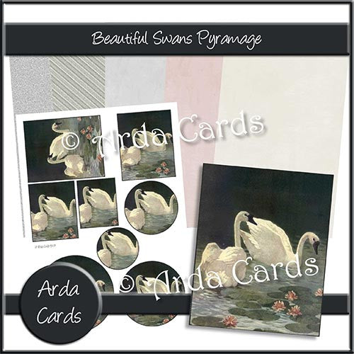 Beautiful Swans Pyramage Set - The Printable Craft Shop