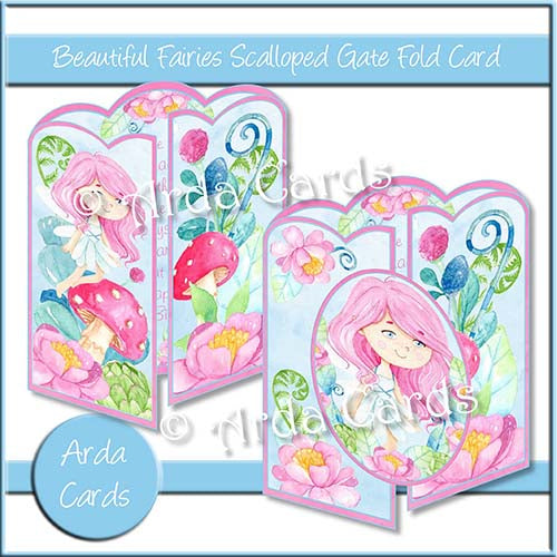 Beautiful Fairies Scalloped Gatefold Card Making Kit - The Printable Craft Shop