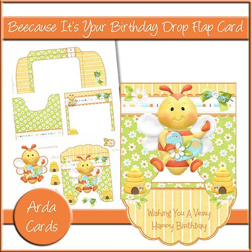 Beecause It's Your Birthday Drop Flap Card - The Printable Craft Shop
