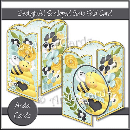 Beelightful Scalloped Gatefold Card Making Kit - The Printable Craft Shop