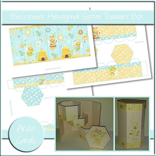 Bee's Knees Hexagonal Secret Treasure Box - The Printable Craft Shop