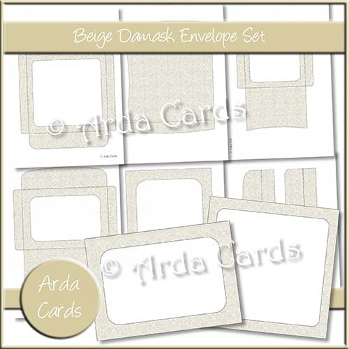 Beige Damask Envelope Set - The Printable Craft Shop