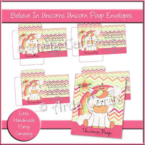 Believe In Unicorns Unicorn Poop Envelopes - The Printable Craft Shop