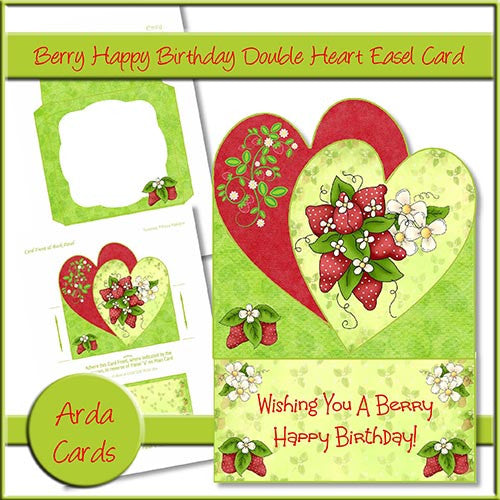 Berry Happy Birthday Double Heart Easel Card - The Printable Craft Shop