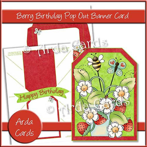 Berry Birthday Printable Pop Out Banner Card