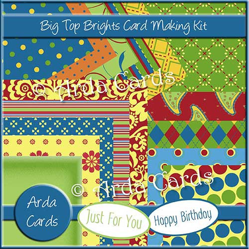 Big Top Brights Card Making Kit - The Printable Craft Shop