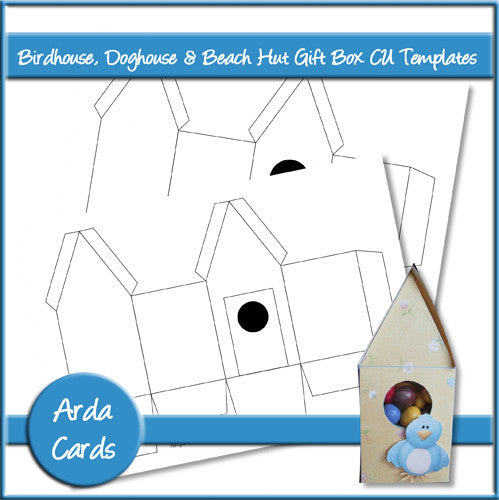 Birdhouse, Doghouse & Beach Hut Gift Box CU Templates - The Printable Craft Shop