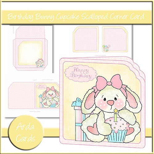 Birthday Bunny Cupcake Scalloped Corner Card - The Printable Craft Shop