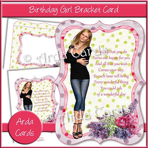 Birthday Girl Bracket Card - The Printable Craft Shop