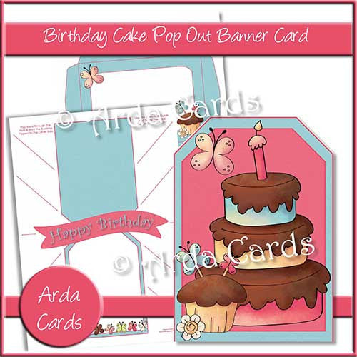 Load Image Into Gallery Viewer Birthday Cake Printable Pop Out Banner Card