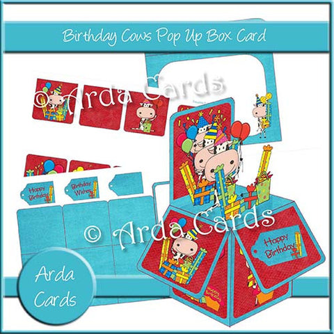 Birthday Cows Printable Pop Up Box Card