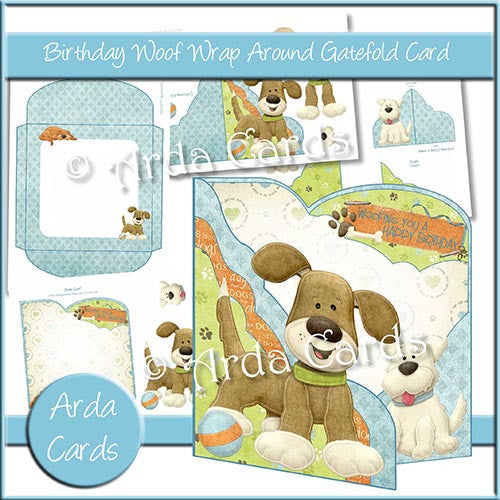 Birthday Woof Wrap Around Gatefold Card - The Printable Craft Shop