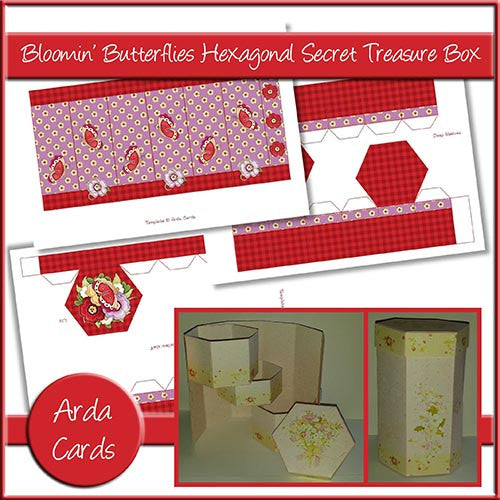 Bloomin' Butterflies Hexagonal Secret Treasure Box - The Printable Craft Shop