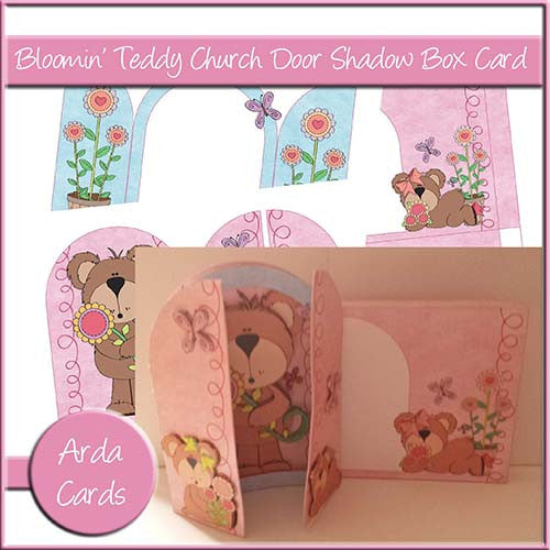 Free Bloomin' Teddy Church Door Shadow Box Card - The Printable Craft Shop