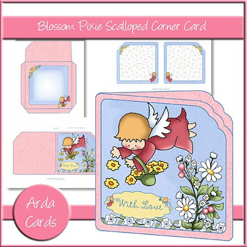 Blossom Pixie Scalloped Corner Card - The Printable Craft Shop