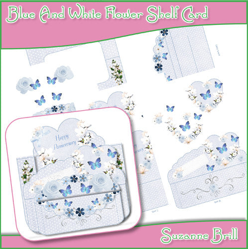 Blue And White Flower Shelf Card - The Printable Craft Shop