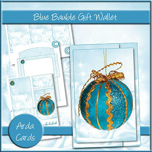 Blue Bauble Gift Card Holder - The Printable Craft Shop
