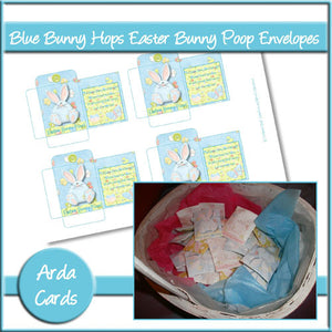 Easter Bunny Poop Envelopes - Blue - The Printable Craft Shop