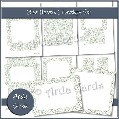 Blue Flowers 1 Envelope Set