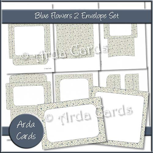 Blue Flowers 2 Envelope Set