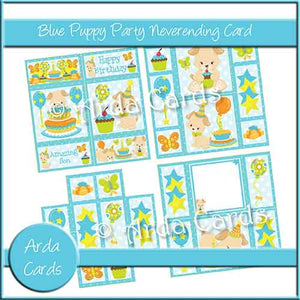 Blue Puppy Party Neverending Card