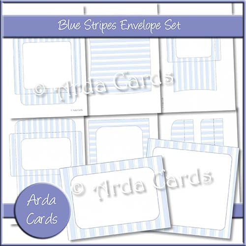 Blue Stripes Envelope Set - The Printable Craft Shop