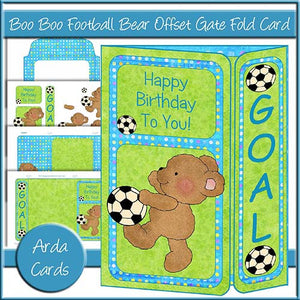 Boo Boo Football Bear Offset Gate Fold Card - The Printable Craft Shop