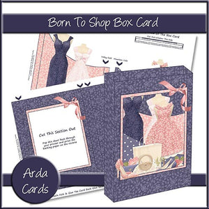 Born To Shop Box Card - The Printable Craft Shop
