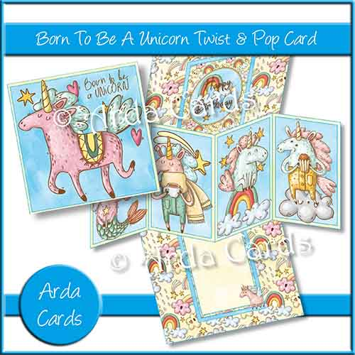 Born To Be A Unicorn Twist & Pop Card