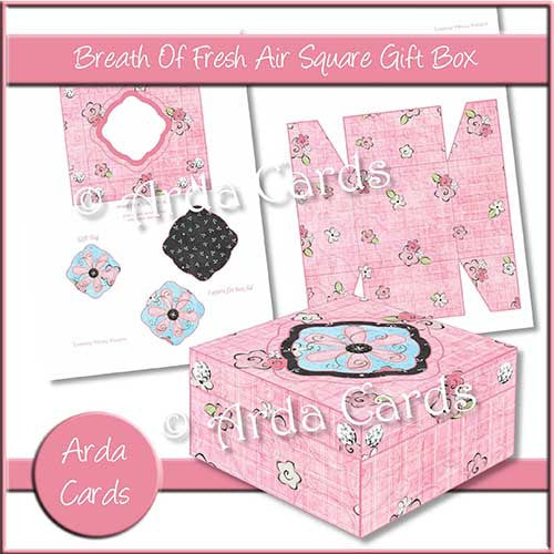 Breath Of Fresh Air Square Printable Gift Box - The Printable Craft Shop