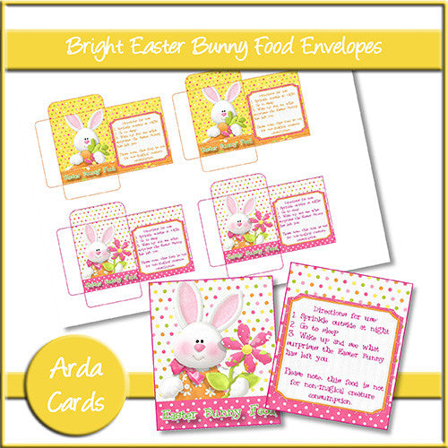 Easter Bunny Food Envelopes - Bright - The Printable Craft Shop